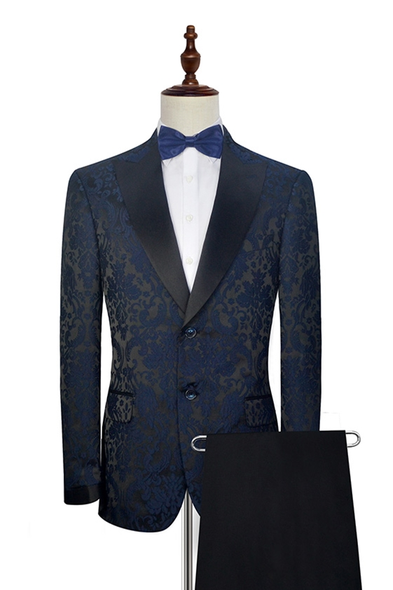blue jacquard suit