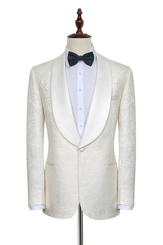 White Jacquard Suit