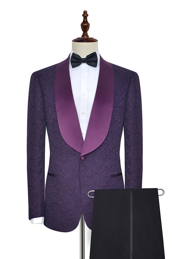 Purple Jacquard Suit