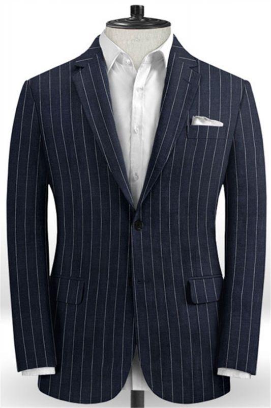 Marvin Dark Blue Linen Casual Tuxedo for Men | Striped Slim Fit Men Suits