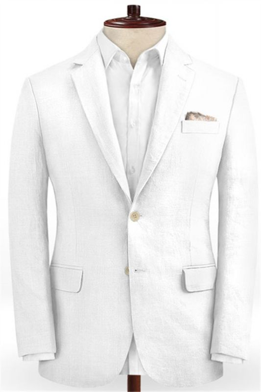 Summer White 2 Piece Linen Men Suit | Cutsom Slim Fit Groom Prom Wedding Suit Set