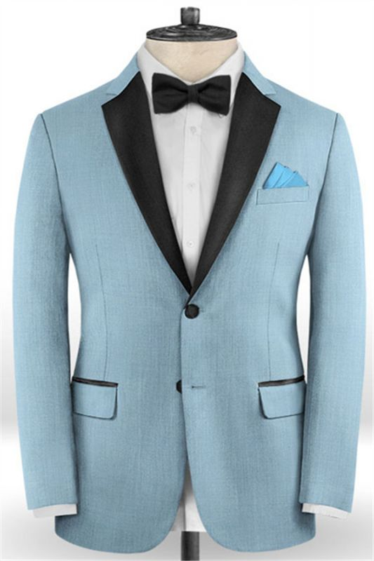 Blue Wedding Groomsmen Tuxedos   Gentle Prom Men Suits with 2 Pieces