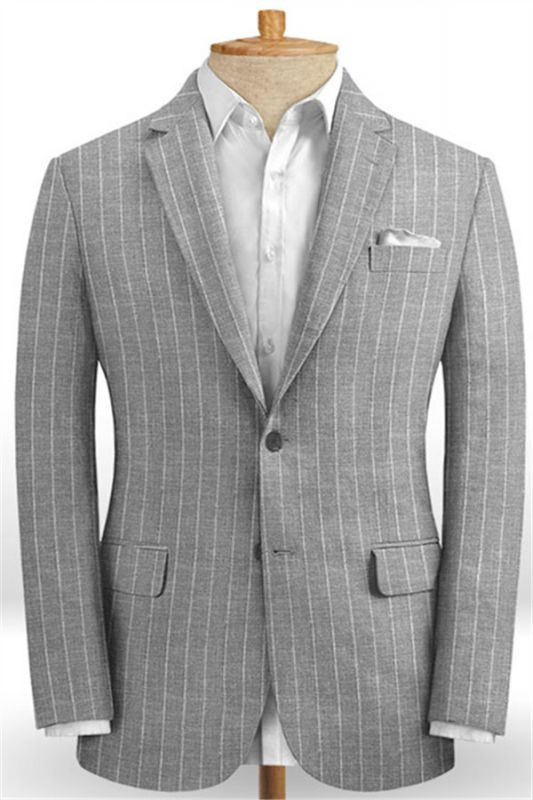 Gray Striped Linen Men Suits Online | Notched Lapel Tuxedo with Two Pieces