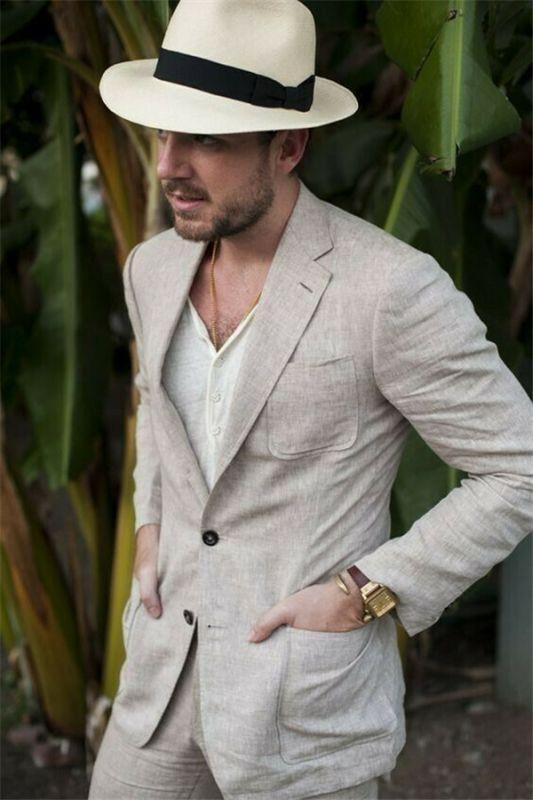 Summer Fashion Khaki Linen Suit For Men | Casual Prom Dinner Groom Wedding Tuxeds