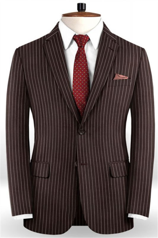 Chocolate Two Pieces Men Suits with 2 Buttons | Striped Tuxedo