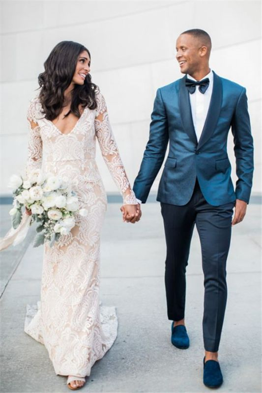 Fashionable Shawl Lapel Dark Green Groom Tuxedos | Handsome Fit Best Man Suit Wedding Mens Suit