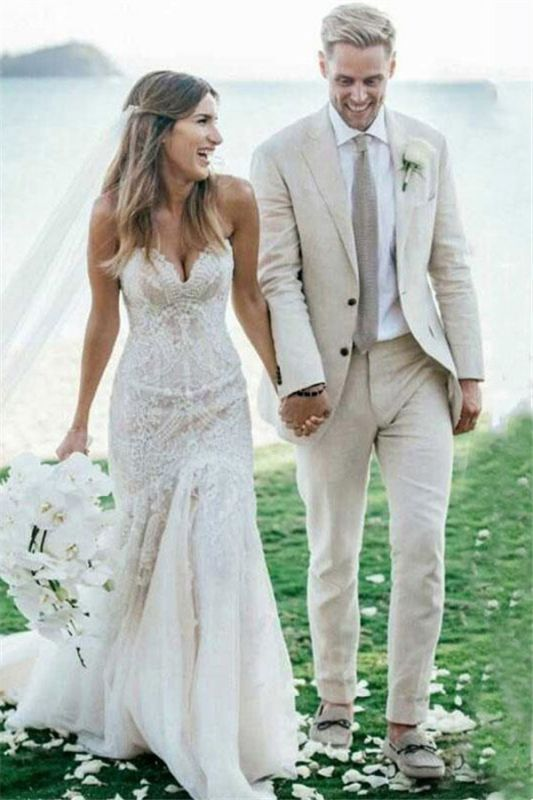 Ivory Summer Beach Linen Wedding Tuxedo for Men   Custom Made Slim fit Men Suits with 3 Pieces