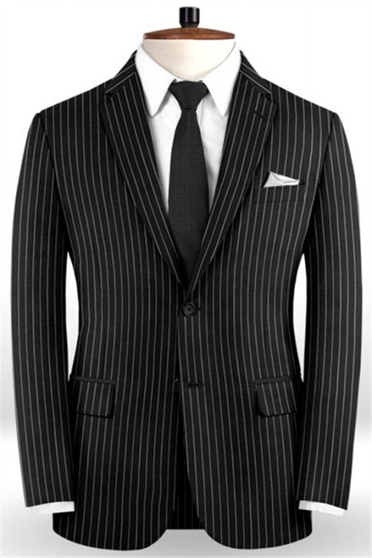 New Black Business Men Suits   Wedding Two Piece Striped Groom Tuxedos