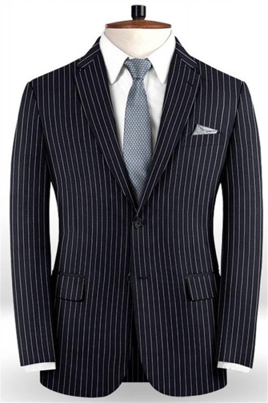 Dark Blue Striped Formal Men Suits Online | Business Slim Fit Tuxedo