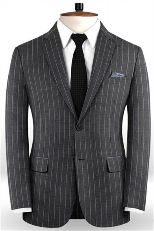 New Smoking Gray Men Suits For Business | Modern Striped Notch Lapel Tuxedo Online