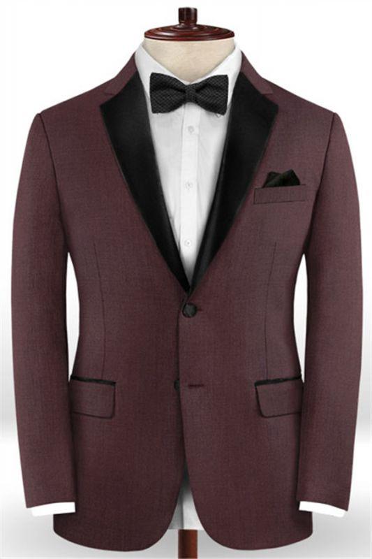 Classic Burgundy Two Button Men Suit | 2 Pieces Business Men Wedding Suits