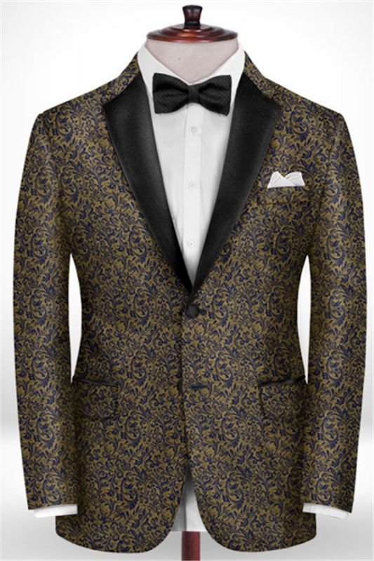 Gold Jacquard Prom Outfits Tuxedo | Two Pieces Notch Lapel Men Suits for Prom
