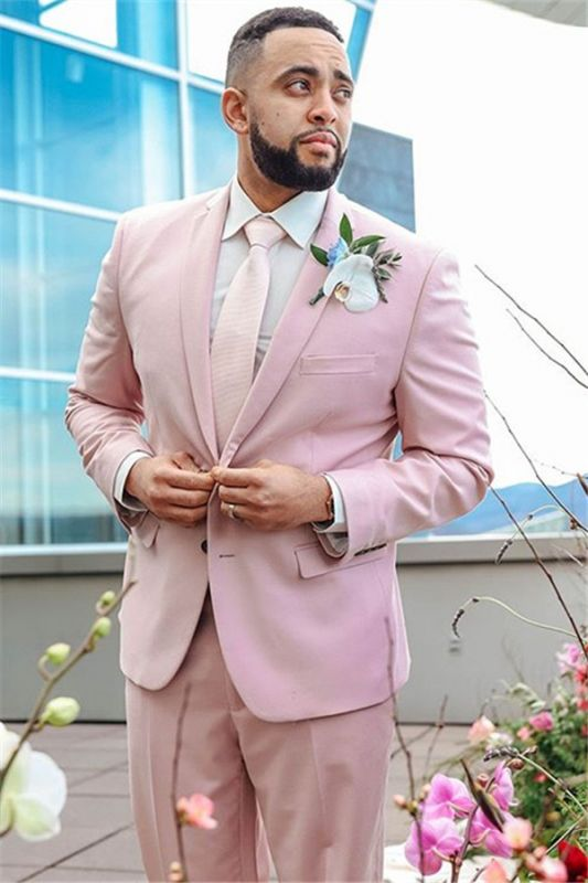 Pink Notched Lapel Mens Suits For Groom Tuxedos   Party Prom Tuxedo with 2 Pieces