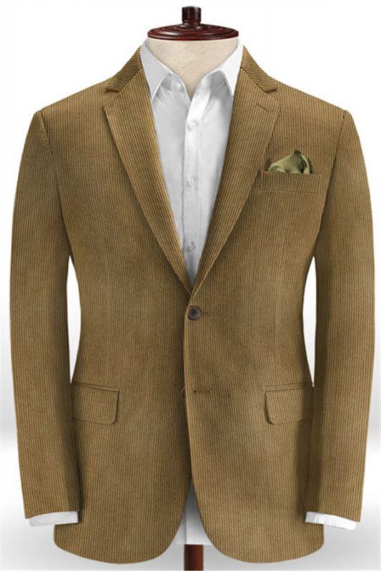 Dark Brown Tuxedo | Corduroy Striped Men Suits Online