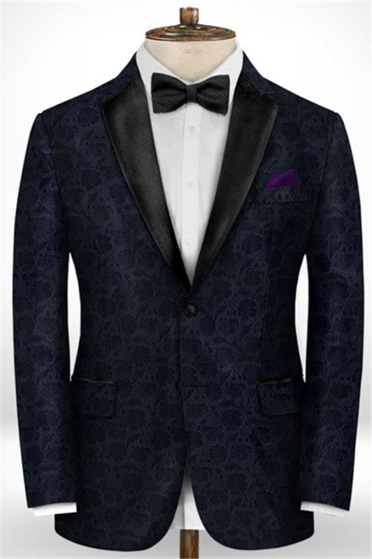 Black Jacquard Prom Men Suits   Fashion Slim Fit Tuxedo with Two Pieces