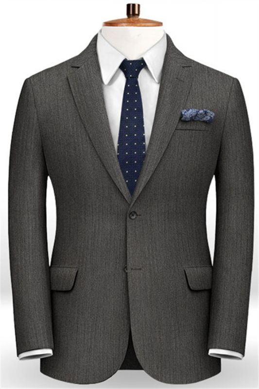 Customized Classic 2Pcs Men Suit Set   High-end Solid Color Slim Business Tuxedo