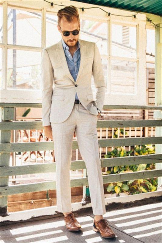 Latest Ivory Linen Men Suits for Wedding | 2 Piece Slim Groom Prom Men Tuxedo