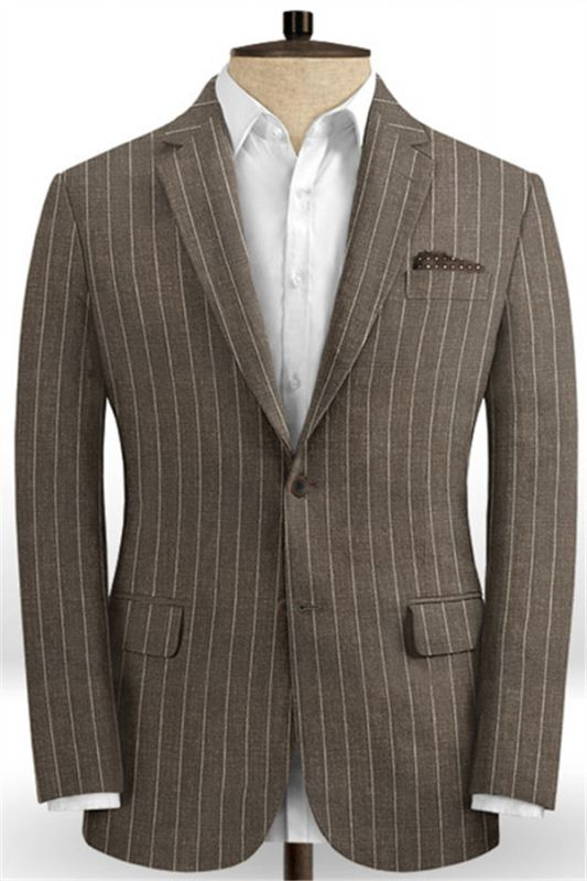 Brown Linen Striped Men Suits Online | Two Pieces Business Tuxedo with Two Pieces