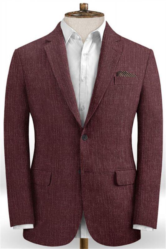 Burgundy Men Suits Online   Notched Lapel Linen Tuxedo Online