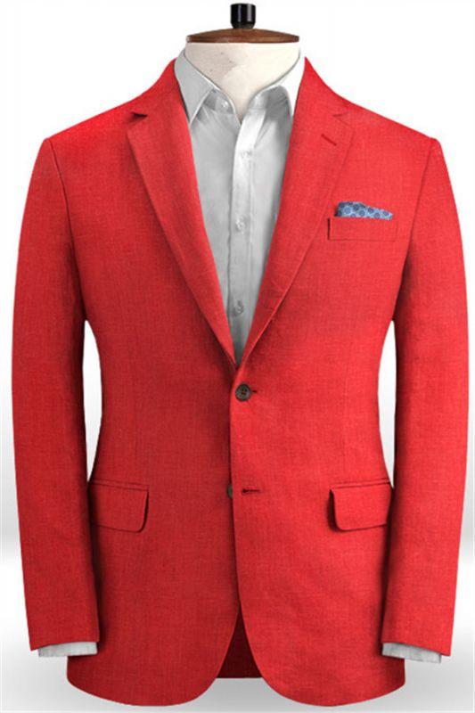 Red Wedding Groom Men Suits | 2 Pieces Jackt Pants Vest Tuxedo with Notched Lapel