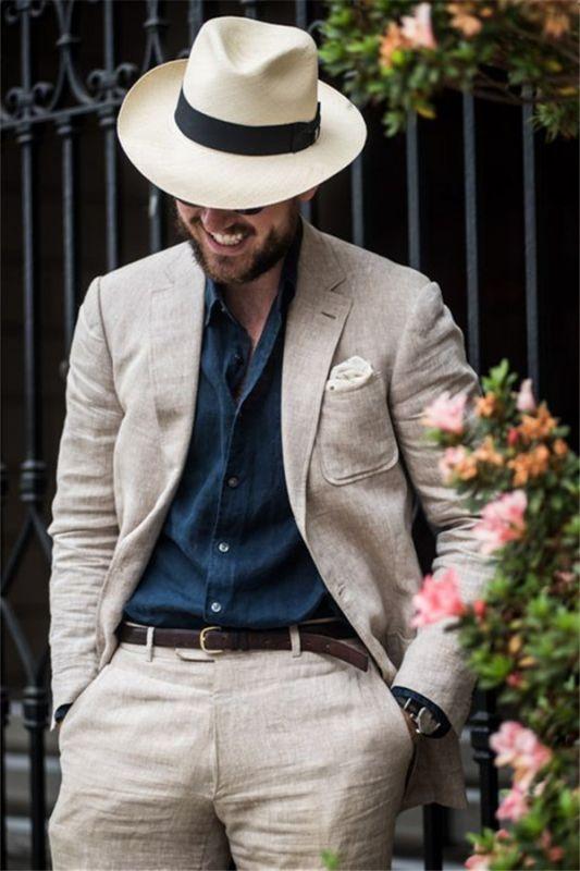 Summer 2 Pieces Linen Beach Men Suits | Fashion Wedding Casual Groom Tuxedo