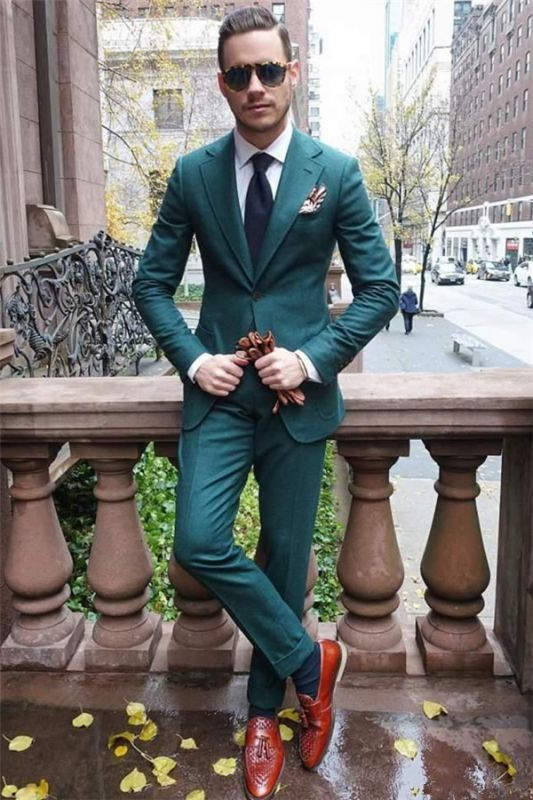 Hunter Green Slim Fit Prom Tuxedos | Custom Made Two Pieces Groom Formal Suits for Men