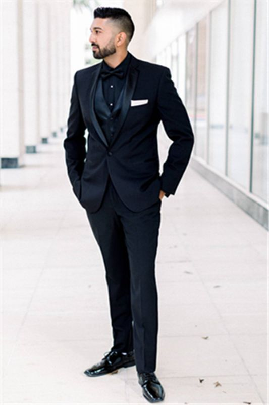 Tailored Black Men Suits for Wedding | One Button Groomsmen Suits Shawl Lapel Best Man Blazers