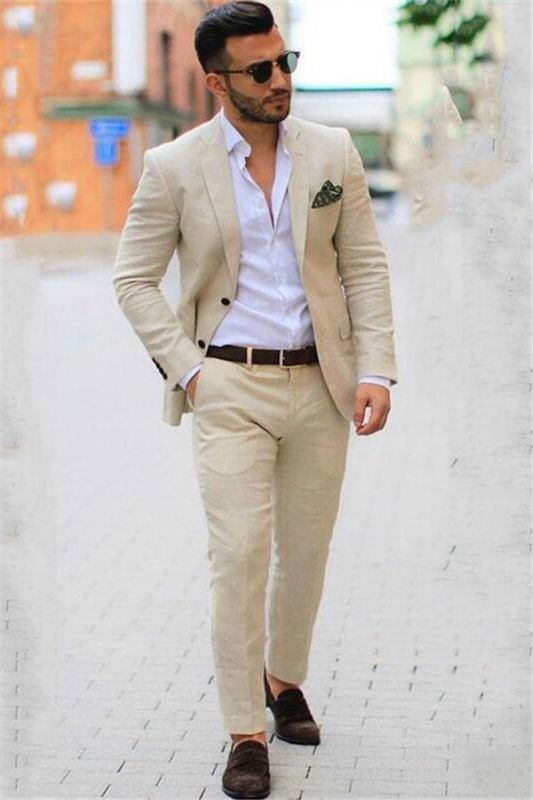 Ivory Casual Summer 2 piece Linen Blazer Mens Suits | Custom Beige Slim Fit Groom Wedding Tuxedo