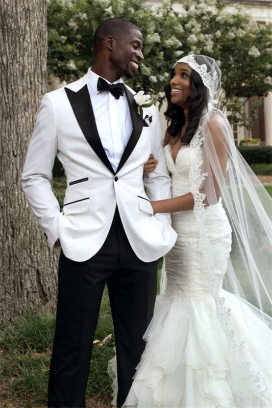 White Groom Tuxedos Men Wedding Suits | Peaked Lapel Groomsmen Wear Prom Party Suits