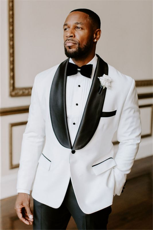 White Wedding Tuxedos Slim Fit Suits For Men | Groomsmen Suit Two Pieces Cheap Prom Formal Suits