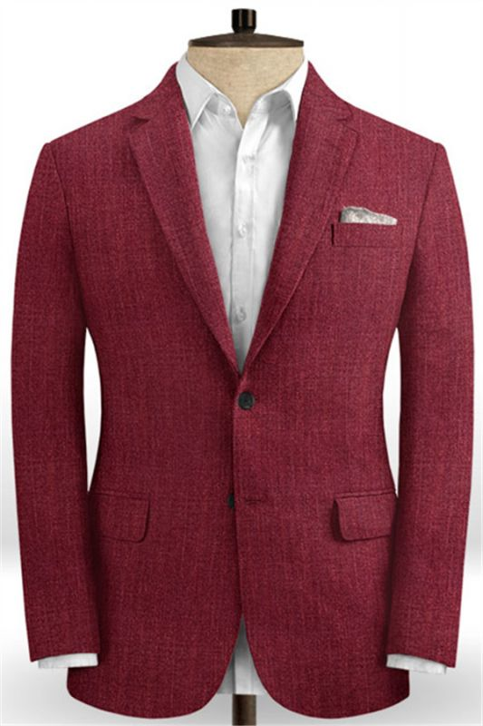 Fashion Red Men Suit Blazer With Two Buttons | Latest Linen Prom Party Tuxedo