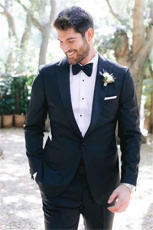 New Slim Fit Peaked Lapel Prom Mens Suits | One Button Wedding Tuxedos Online