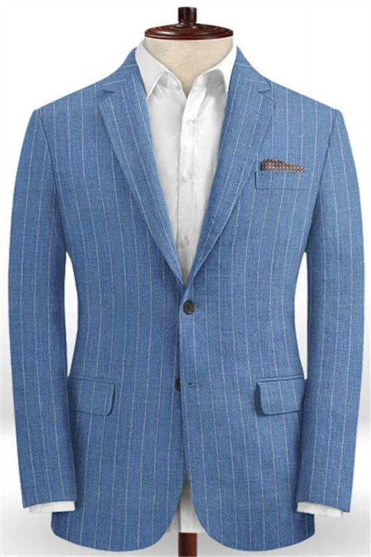 Ocean Blue Striped Prom Tuxedo | Two Pieces Linen Men Suits