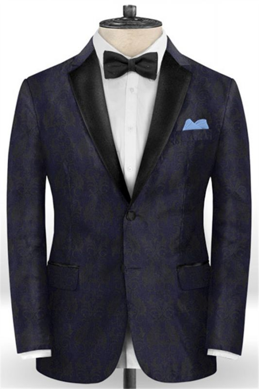 Navy Blue Jacquard Tuxedo for Prom | Slim Fit Two Buttons Men Suits