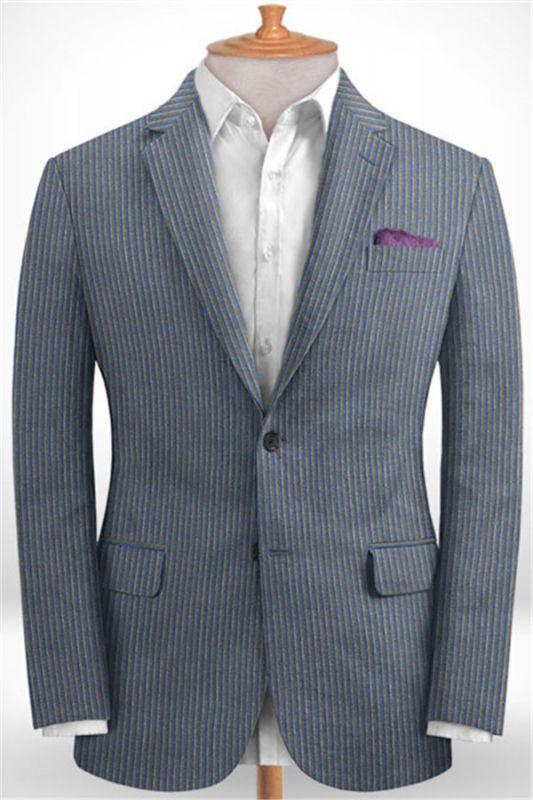Blue Notched Lapel Men Suits for Sale | Modern Slim Fit Striped Tuxedo