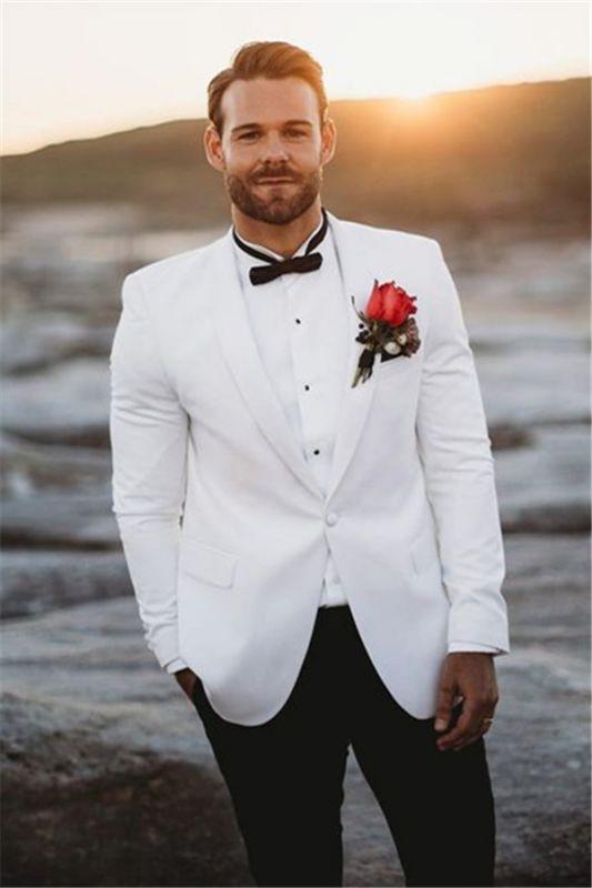 White Mens Wedding Suits Groom Tuxedos | Vintage Two Pieces Slim Fit Groomsmen Wear