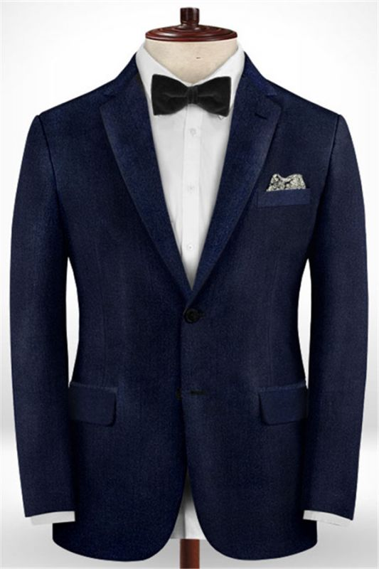 Dark Blue Formal Business Men Suits   Blend Wedding Groomsmen Suits
