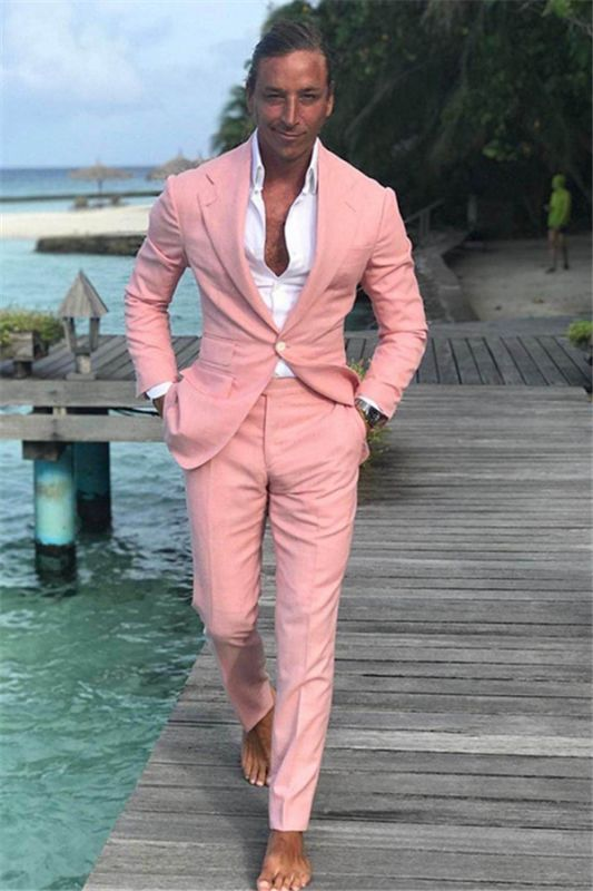 Notched Lapel Prom Tuxedos | Linen Wedding Party Groomsman Suits