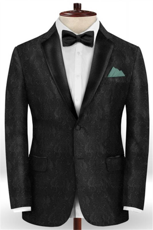 Black Jacquard Prom Outfits Men Suits | Slim Fit Tuxedo with Two Pieces