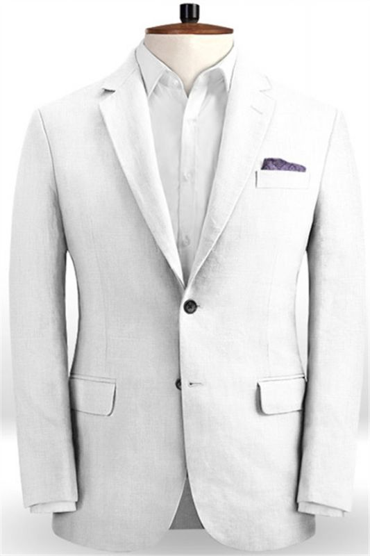 Linen for Summer White Groom Tuxedos | Notch Lapel Men Party Prom Business Suits