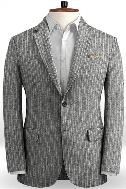 Grey Linen Men Suits | Two Pieces Striped Tuxedo