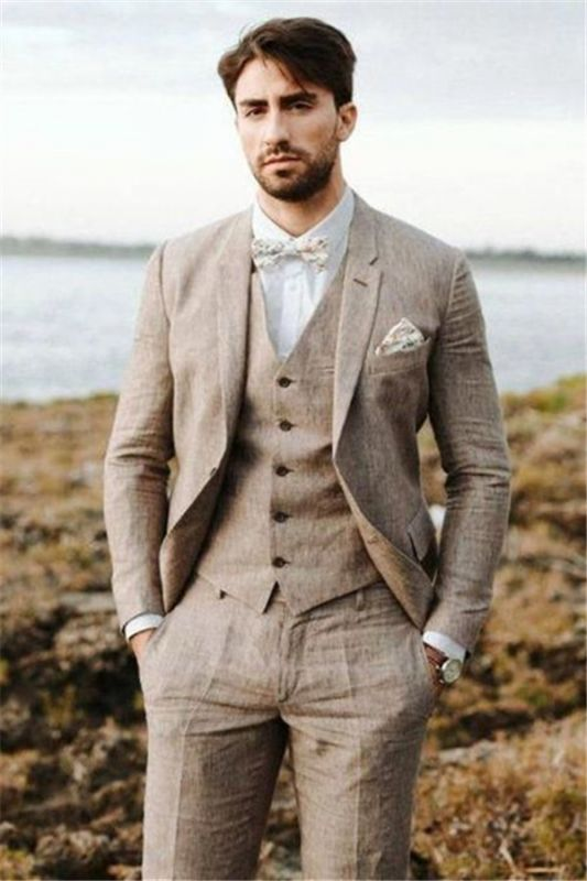 Khaki Linen Summer Beach Mens Classic Suits | 2020 Groom Wedding Tuxedos with 3 Pieces