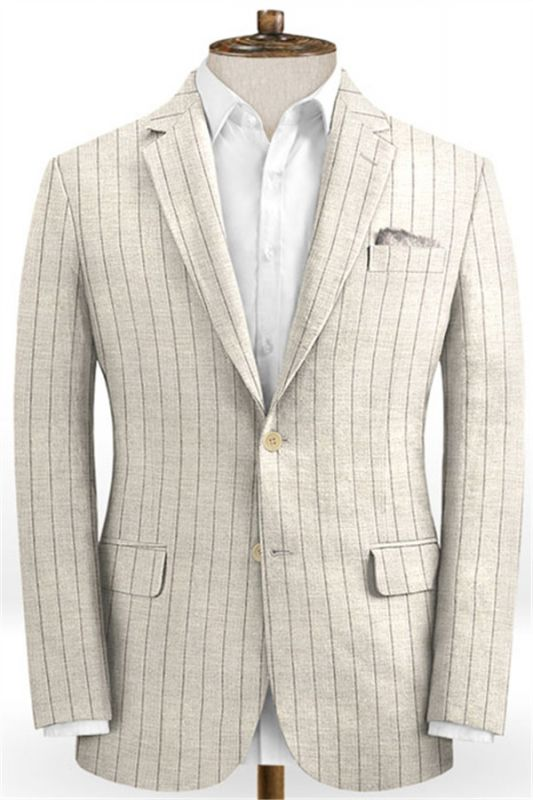 Light Champagne Two Pieces Striped Tuxedo | Linen Summer Beach Groom Suits