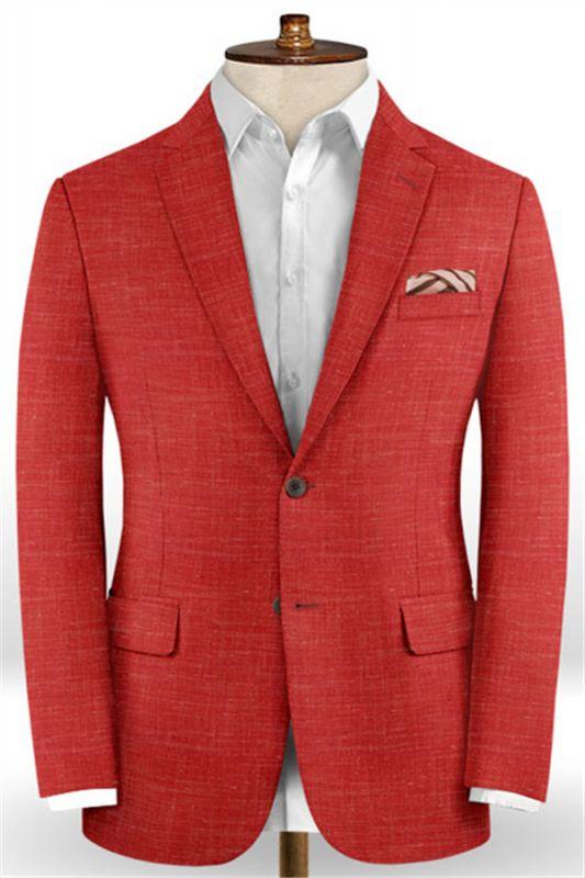 Summer Red Linen Men Suits Set | 2 Piece Prom Wear Tuxedo for Men