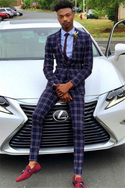 Dark Navy Wool Business Men Suit   Bespoke Plaid Prom Suits for Men