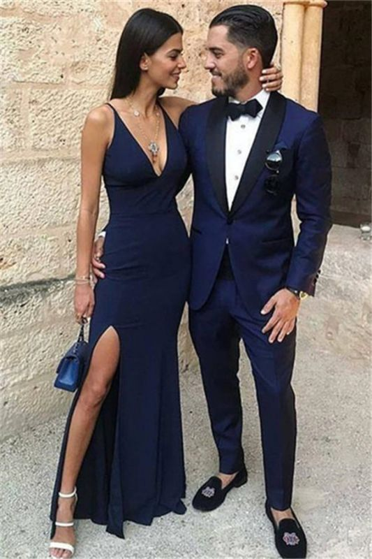 Dark Blue One Button Two-Piece Prom Men Suits with Black Lapel