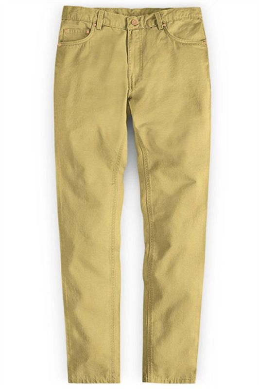 Gold Mens Solid Color Slim Fit Male Social Business Casual Skinny