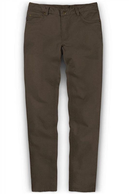 Fashion Brown Slim Zipper Fly Mid Waist Male Casual Pants
