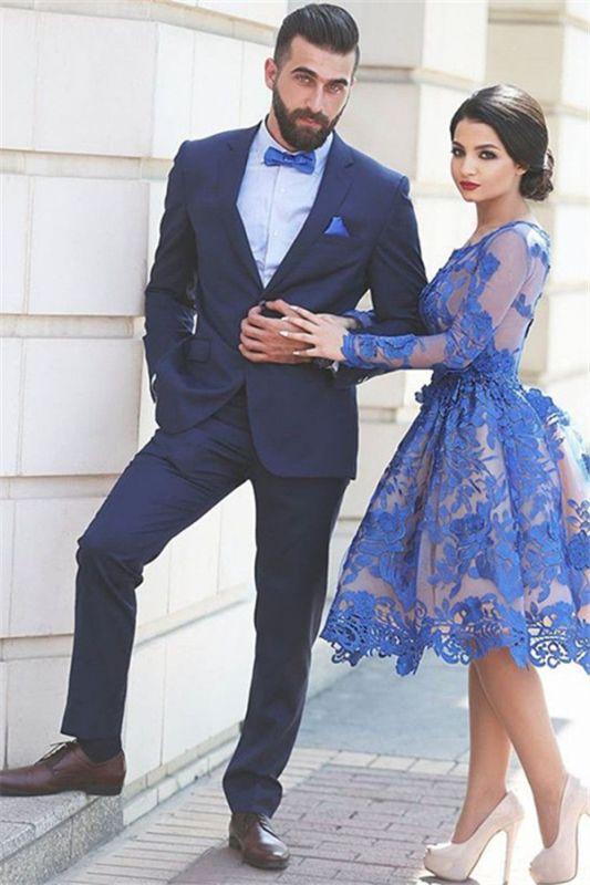 Dark Navy Slim Fit Men Suit | Two Piece Notched Lapel Prom Suit