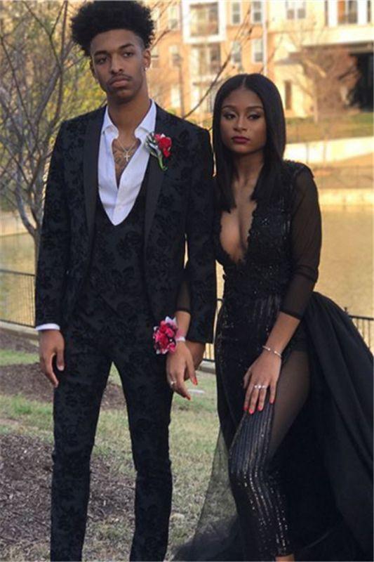 Glamorous Black Jacquard Three-Piece Slim Fit Prom Men Suits